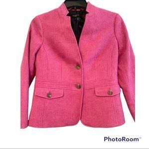 Talbots Pink Tweed Wool Blend Structured Blazer Coat 6 Petite